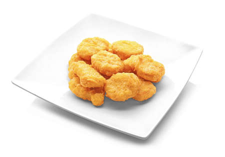 Photo for Tasty chicken nuggets on plate, isolated on white background - Royalty Free Image
