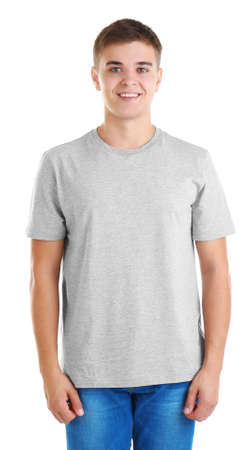 Photo for Handsome young man in blank grey t-shirt on white background - Royalty Free Image