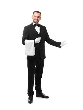 Photo for Handsome waiter with towel on white background - Royalty Free Image