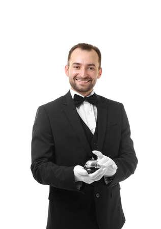 Photo pour Waiter with bell on white background - image libre de droit