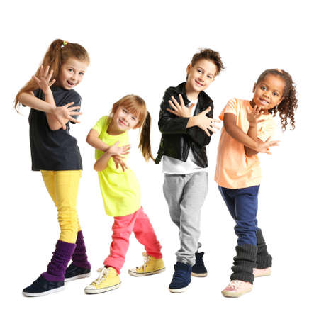 Foto de Cute little dancers on white background - Imagen libre de derechos
