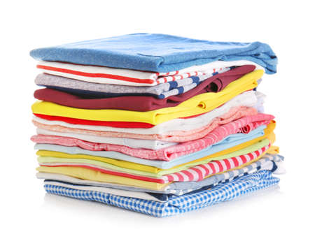 Photo pour Stack of colorful clothes on white background, closeup - image libre de droit