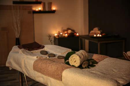 Foto für Interior of modern massage room in candle light - Lizenzfreies Bild