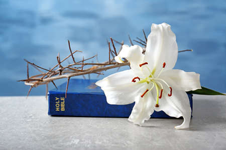 Photo pour Holy Bible, lily and crown of thorns on light background - image libre de droit