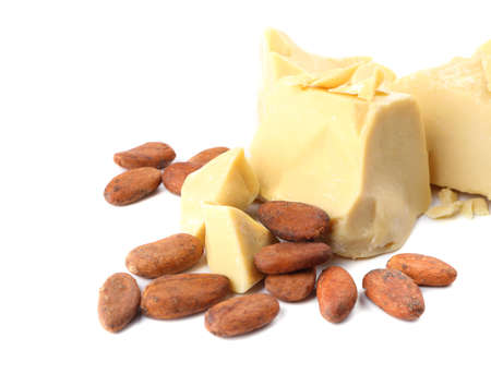 Photo for Pieces of cocoa butter and beans on white background - Royalty Free Image