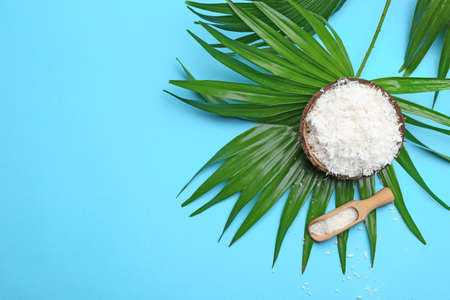 Photo for Composition with coconut flakes and palm leaf on color background, top view - Royalty Free Image