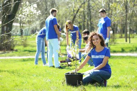 Foto de Beautiful African American volunteer with team outdoors - Imagen libre de derechos