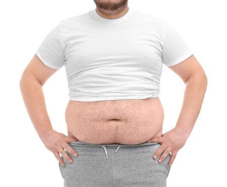 Foto de Fat man on white background. Weight loss concept - Imagen libre de derechos