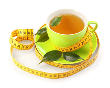 Photo for Weight loss concept. Cup of tea and measuring tape isolated on white - Royalty Free Image