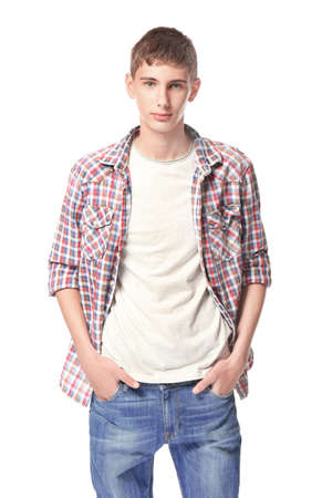 Photo pour Teenager in casual clothes on white background - image libre de droit