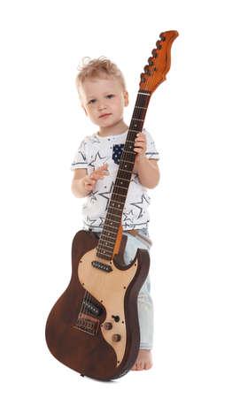 Photo pour Cute little boy with electric guitar on white background - image libre de droit