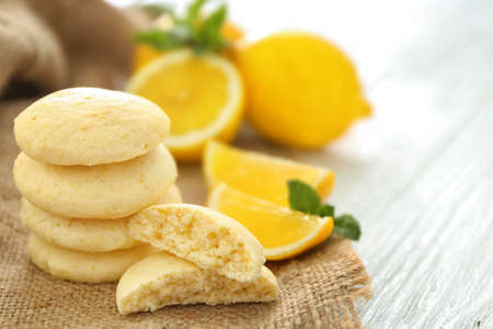 Photo for Homemade cookies with lemon flavor on sackcloth - Royalty Free Image
