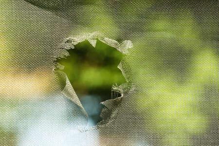 Photo pour Mosquito screen with hole, close up - image libre de droit