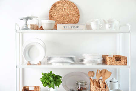 Photo for Storage stand with kitchenware, indoors - Royalty Free Image