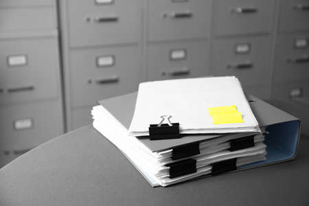Photo for Folder with documents on table in archive - Royalty Free Image