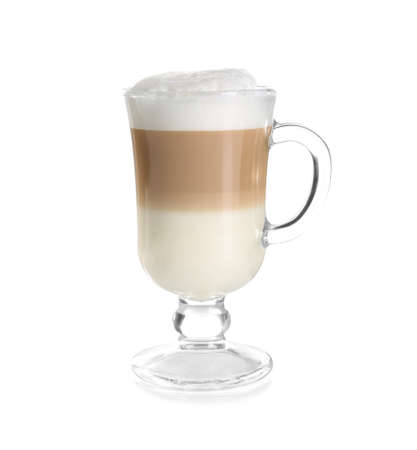 Foto de Glass with latte macchiato on white background - Imagen libre de derechos