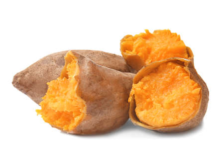 Photo for Baked sweet potato on white background - Royalty Free Image