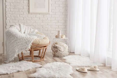 Photo for Modern room interior with lounge chair and soft fluffy carpets - Royalty Free Image