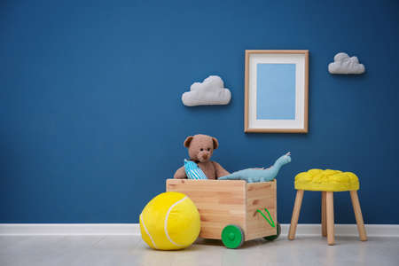 Photo for Children's room with bright color wall, interior details - Royalty Free Image