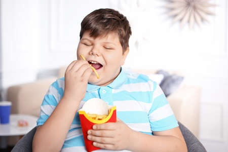 Foto de Overweight boy eating french fries indoors - Imagen libre de derechos