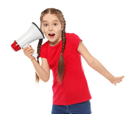 Photo pour Funny little girl with megaphone on white background - image libre de droit