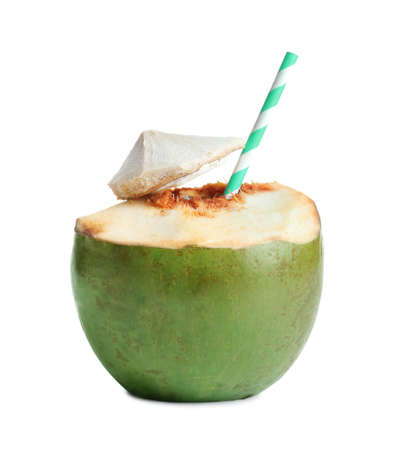 Photo for Fresh green coconut with drinking straw on white background - Royalty Free Image