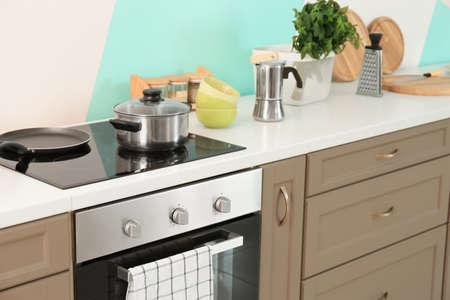 Foto de Modern kitchen furniture indoors - Imagen libre de derechos