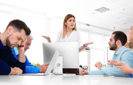 Photo for Office employees having argument during business meeting - Royalty Free Image