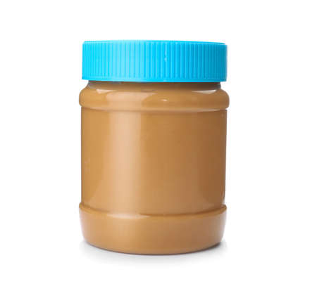 Photo for Jar with creamy peanut butter on white background - Royalty Free Image