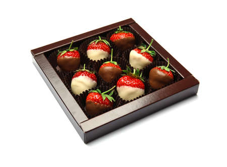 Foto de Box with chocolate covered strawberries on white background - Imagen libre de derechos