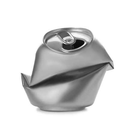 Foto de Empty crumpled aluminum can on white background. Metal waste recycling - Imagen libre de derechos