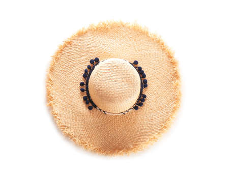 Photo for Stylish summer hat on white background, top view - Royalty Free Image