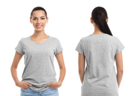 Foto de Front and back views of young woman in grey t-shirt on white background. Mockup for design - Imagen libre de derechos