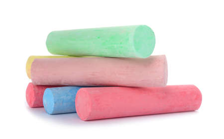 Photo for Color pieces of chalk on white background - Royalty Free Image