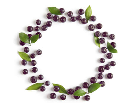 Foto de Frame made of fresh acai berries and leaves on white background - Imagen libre de derechos