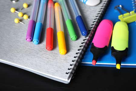 Foto de Different stationery on table, closeup. Back to school - Imagen libre de derechos