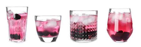 Photo for Set with blackberry lemonade on white background - Royalty Free Image