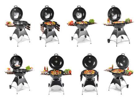 Foto de Set with modern barbecue grill and tasty food on white background - Imagen libre de derechos