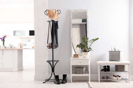 Photo for Stylish hallway interior with large mirror - Royalty Free Image