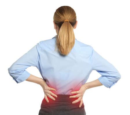 Photo pour Woman suffering from back pain on white background - image libre de droit