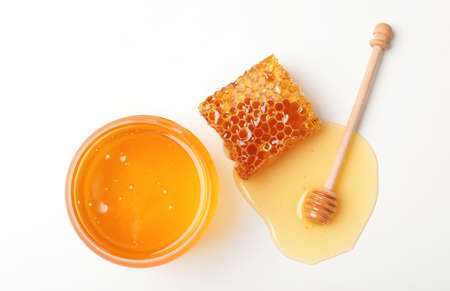 Photo for Composition with fresh honey on white background, top view - Royalty Free Image