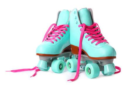 Photo pour Pair of bright stylish roller skates on white background - image libre de droit