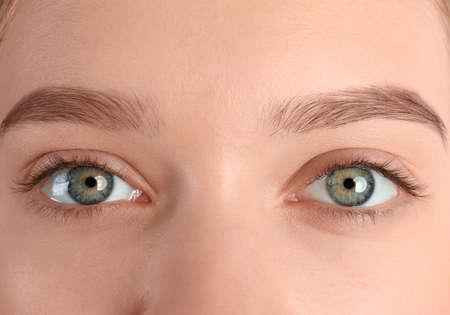 Photo for Young woman with beautiful natural eyelashes, closeup - Royalty Free Image