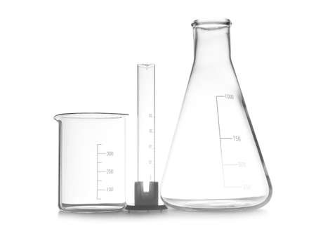Foto de Empty chemistry laboratory glassware isolated on white - Imagen libre de derechos