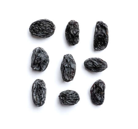 Photo pour Composition with raisins on white background, top view. Dried fruit as healthy snack - image libre de droit