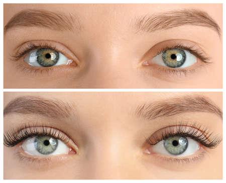 Photo pour Young woman before and after eyelash extension procedure, closeup - image libre de droit