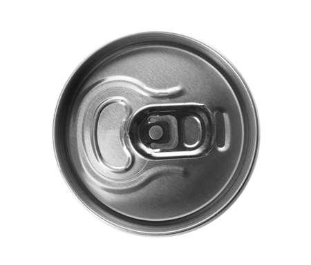 Foto de Top view of aluminum can with beverage on white background - Imagen libre de derechos
