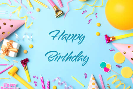 Photo for Flat lay composition with party items and text Happy Birthday on blue background - Royalty Free Image