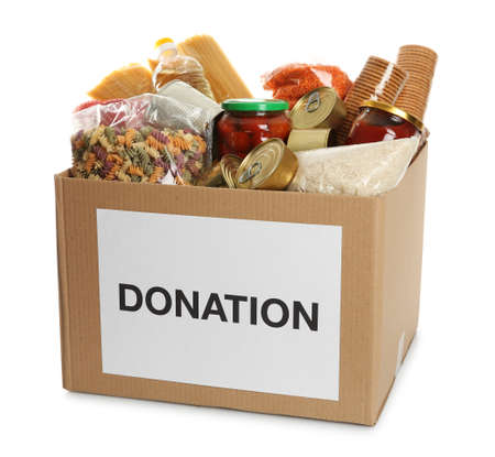 Photo pour Donation box full of different products on white background - image libre de droit
