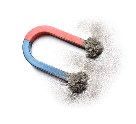 Foto de Magnet with iron powder on white background, top view - Imagen libre de derechos